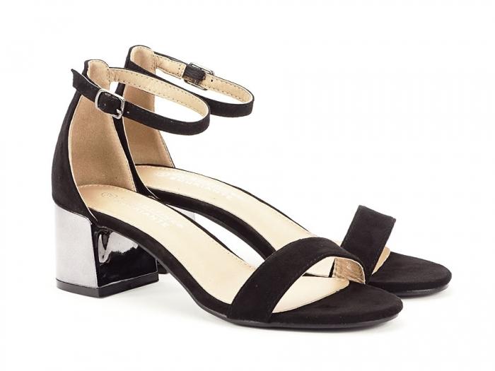 Sandale negre elegante cu toc mic Maya 1