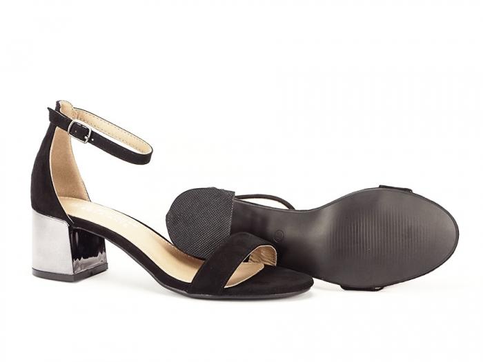 Sandale negre elegante cu toc mic Maya 5