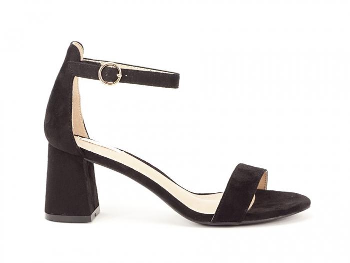 Sandale negre din velur cu toc mic Meli