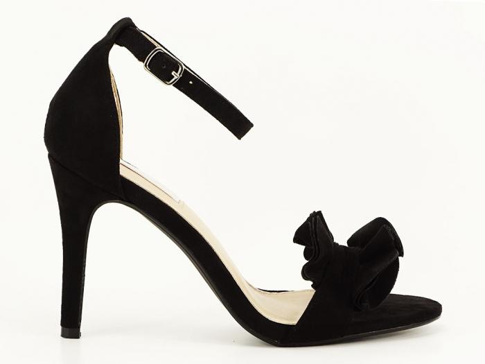 Sandale elegante negre cu toc FLowers 2