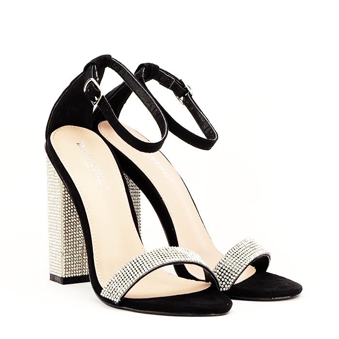 Sandale negre cu pietricele Agness 1