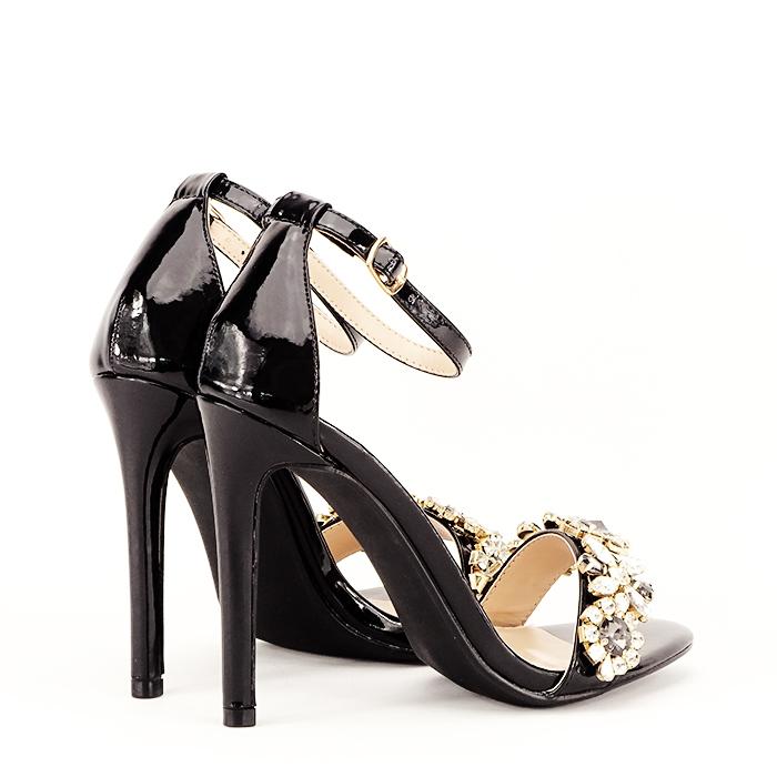 Sandale negre decorate cu pietre Gloria [3]