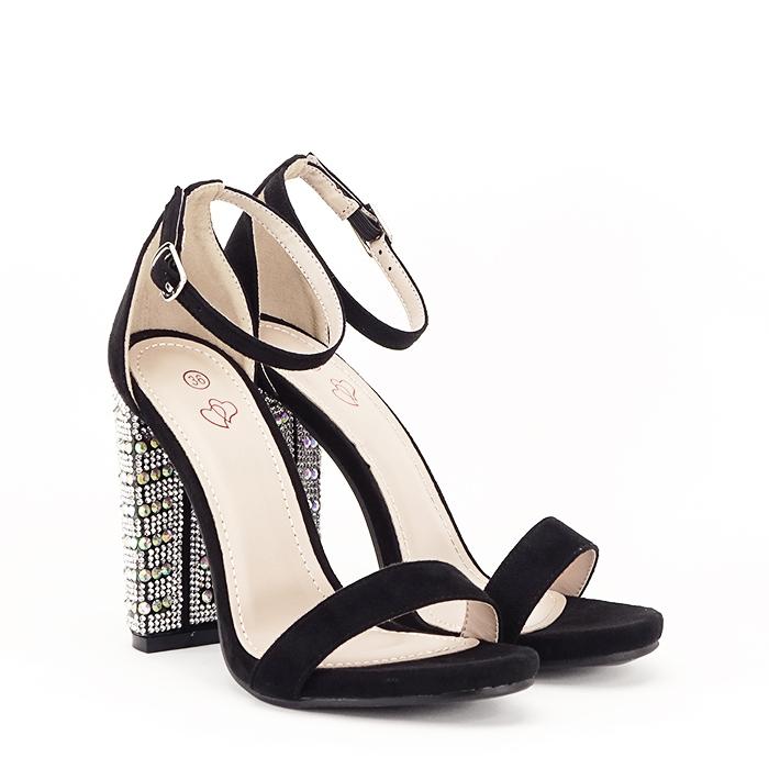 Sandale negre cu pietricele pe toc Cleopatra [2]