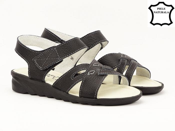 Sandale negre din piele naturala Alexandra 1