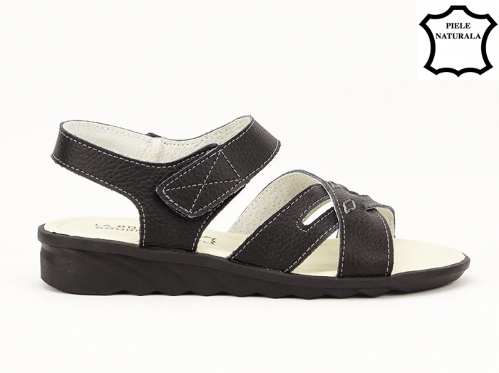 Sandale negre din piele naturala Alexandra 0