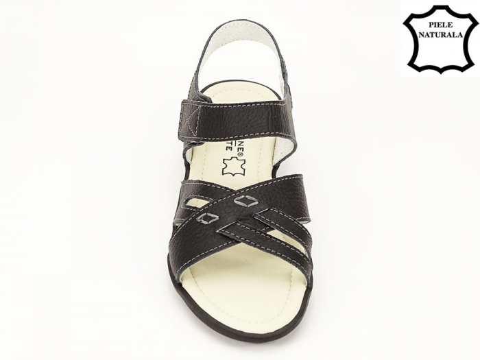 Sandale negre din piele naturala Alexandra 6