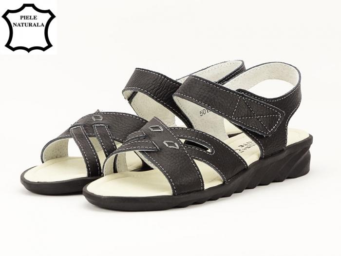 Sandale negre din piele naturala Alexandra 7