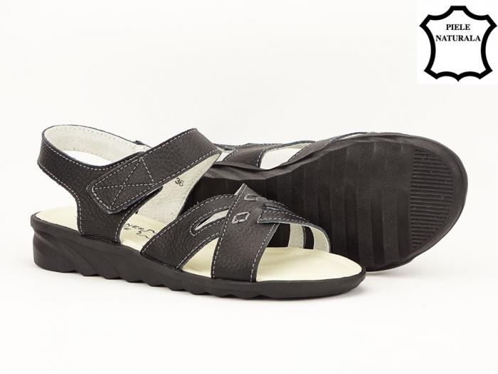 Sandale negre din piele naturala Alexandra 2