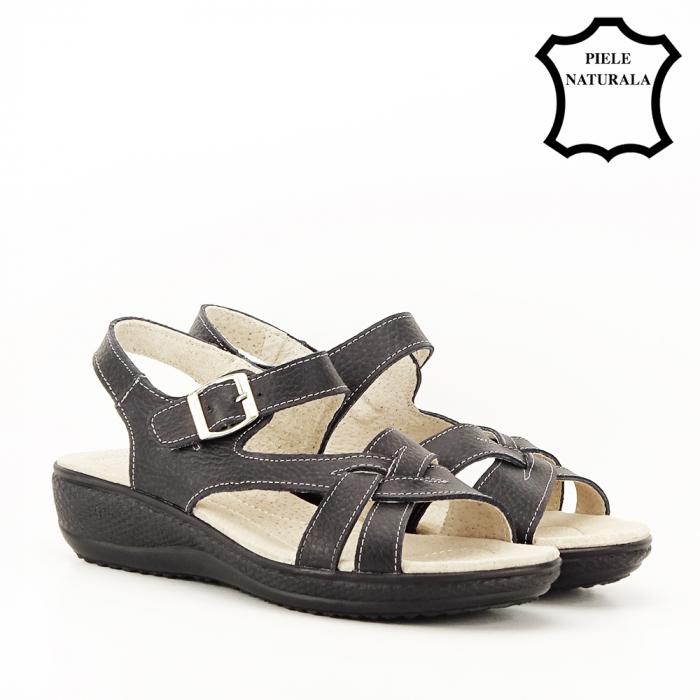 Sandale negre din piele naturala Callia [7]