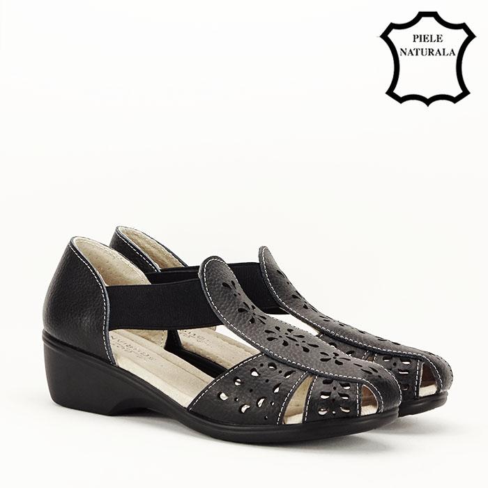 Sandale negre din piele naturala Ozana [2]