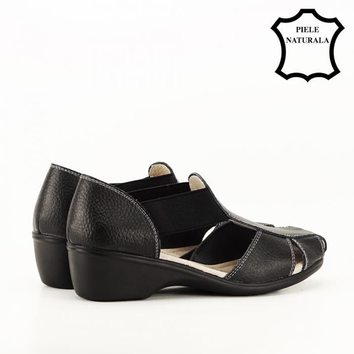 Sandale negre din piele naturala Calypso 3