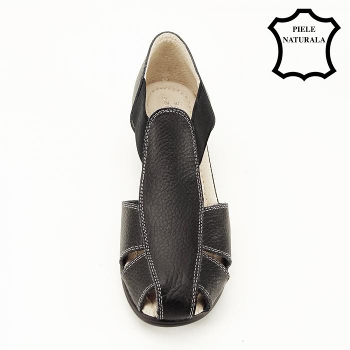 Sandale negre din piele naturala Calypso 2