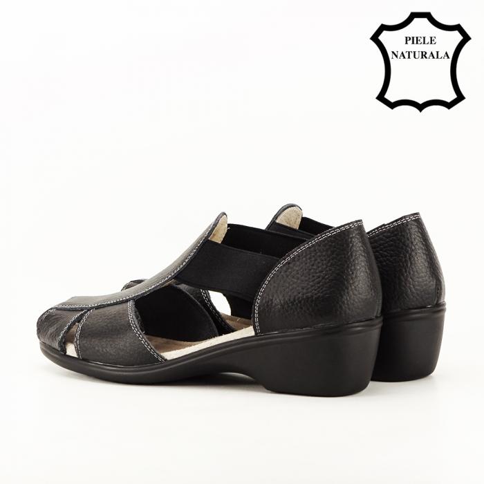 Sandale negre din piele naturala Calypso 5