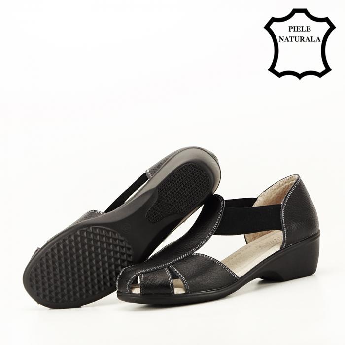 Sandale negre din piele naturala Calypso 6