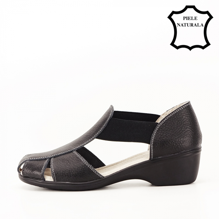Sandale negre din piele naturala Calypso 1