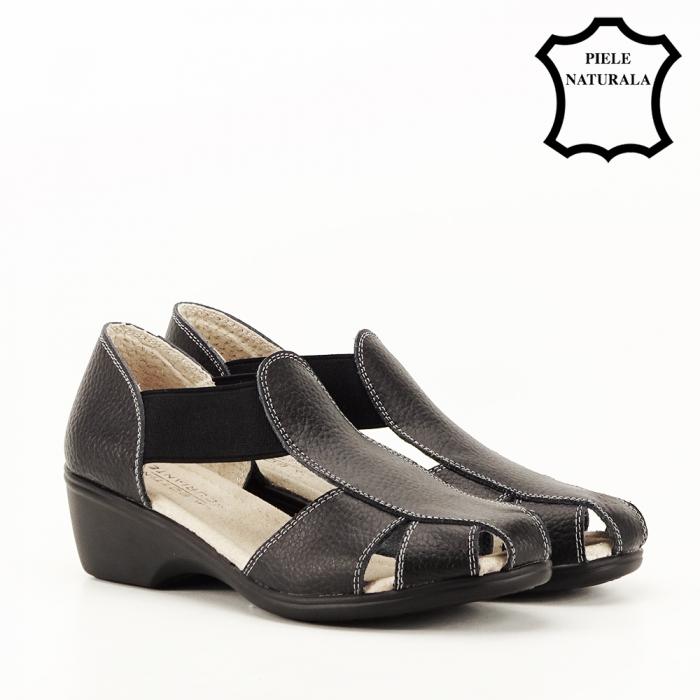 Sandale negre din piele naturala Calypso 7
