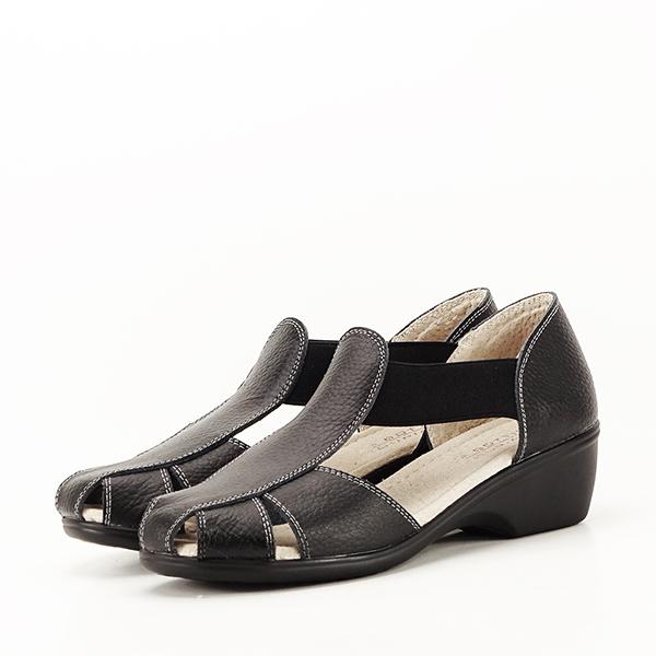 Sandale negre din piele naturala Calypso 0