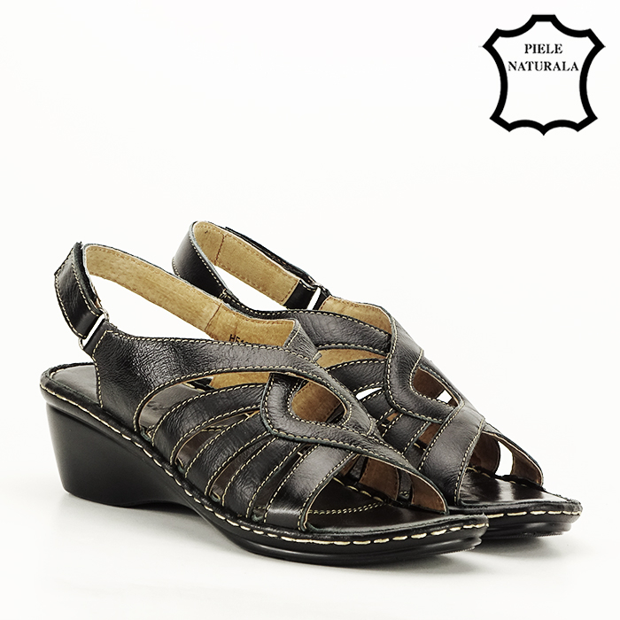 Sandale negre din piele naturala Eliza [6]