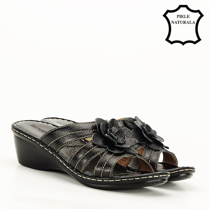 Sandale negre din piele naturala Felicia [5]
