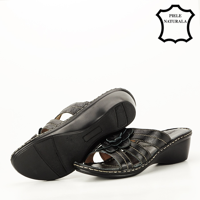 Sandale negre din piele naturala Felicia [4]