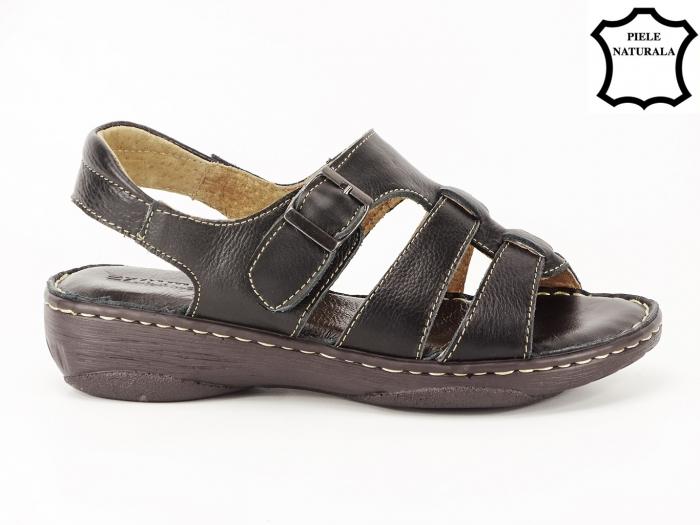 Sandale negre dama din piele naturala Lucy 0