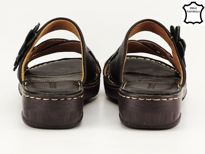 Sandale dama negre din piele naturala Mara 4