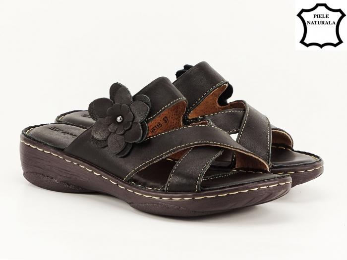 Sandale dama negre din piele naturala Mara 2