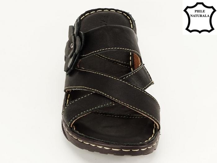 Sandale dama negre din piele naturala Mara 5