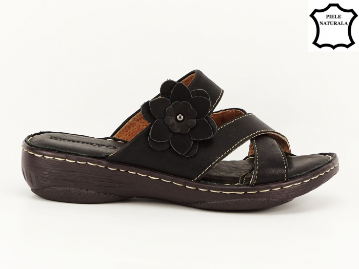 Sandale dama negre din piele naturala Mara 0