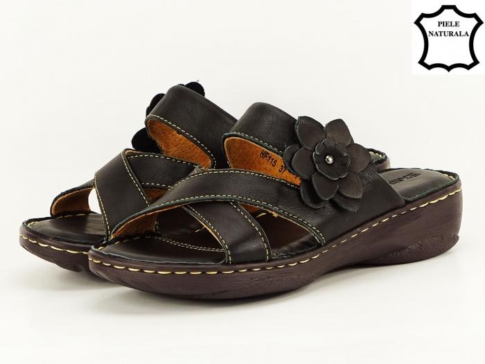 Sandale dama negre din piele naturala Mara 1