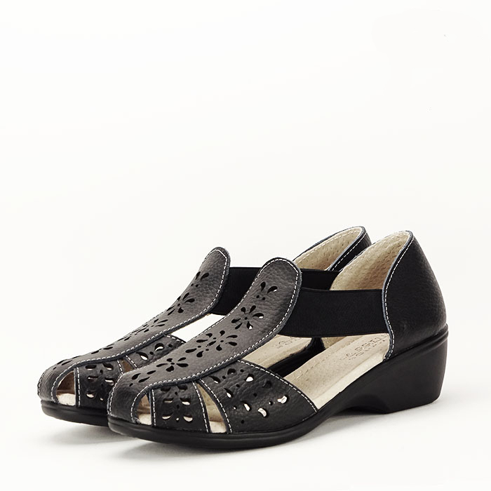 Sandale negre din piele naturala Ozana [0]