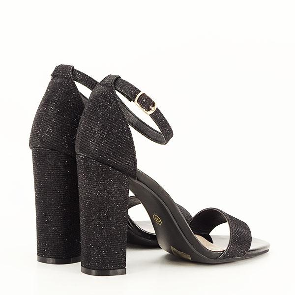 Sandale negre elegante cu sclipici Simona [5]