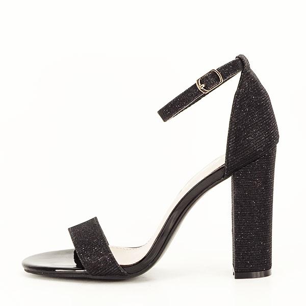 Sandale negre elegante cu sclipici Simona