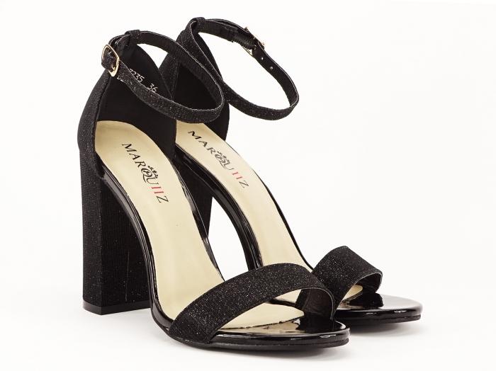 Sandale dama negre elegante cu fir sclipicios Caprice 1