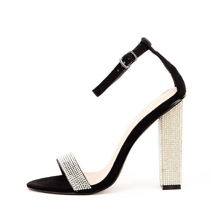 Sandale negre cu pietricele Agness 0