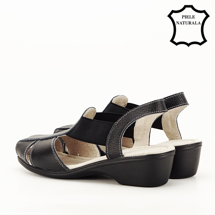 Sandale negre din piele naturala Codruta [7]