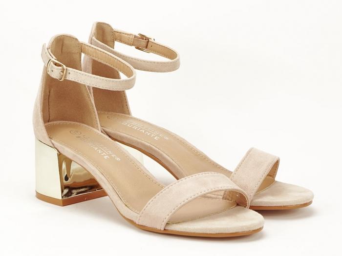 Sandale nude elegante cu toc mic Maya 1