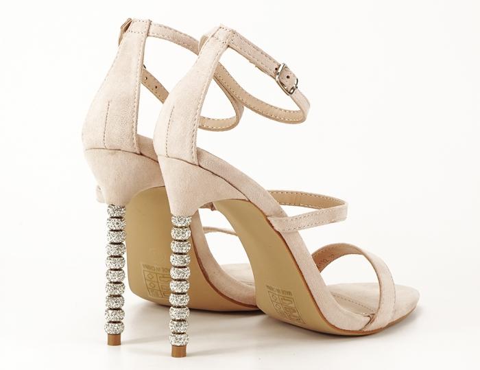 Sandale nude cu toc inalt accesorizat cu pietre Delia 0