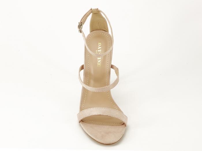 Sandale nude cu toc inalt accesorizat cu pietre Delia 3
