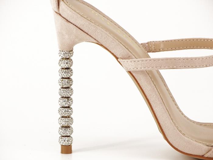 Sandale nude cu toc inalt accesorizat cu pietre Delia 5