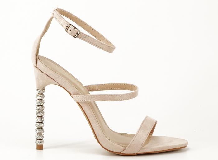Sandale nude cu toc inalt accesorizat cu pietre Delia 1