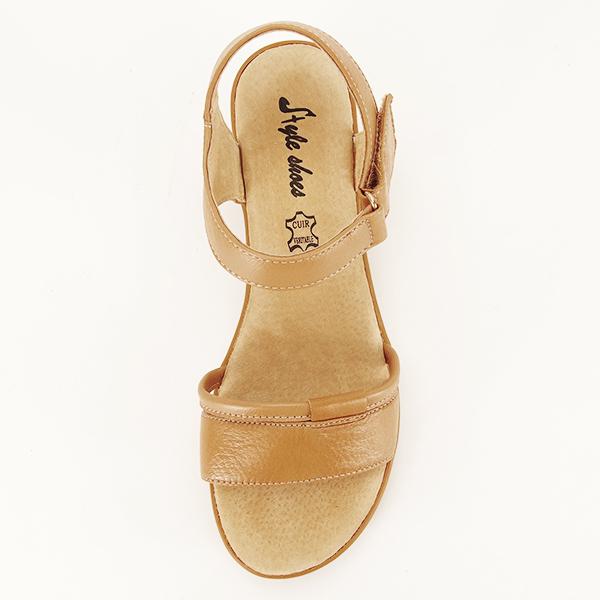 Sandale piele naturala maro deschis Mara [2]