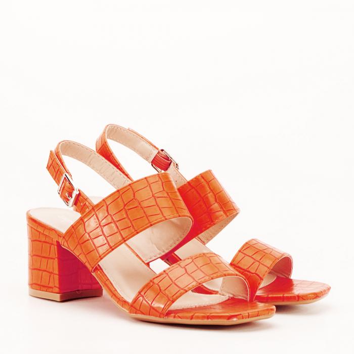 Sandale portocalii cu toc mic Edith 2