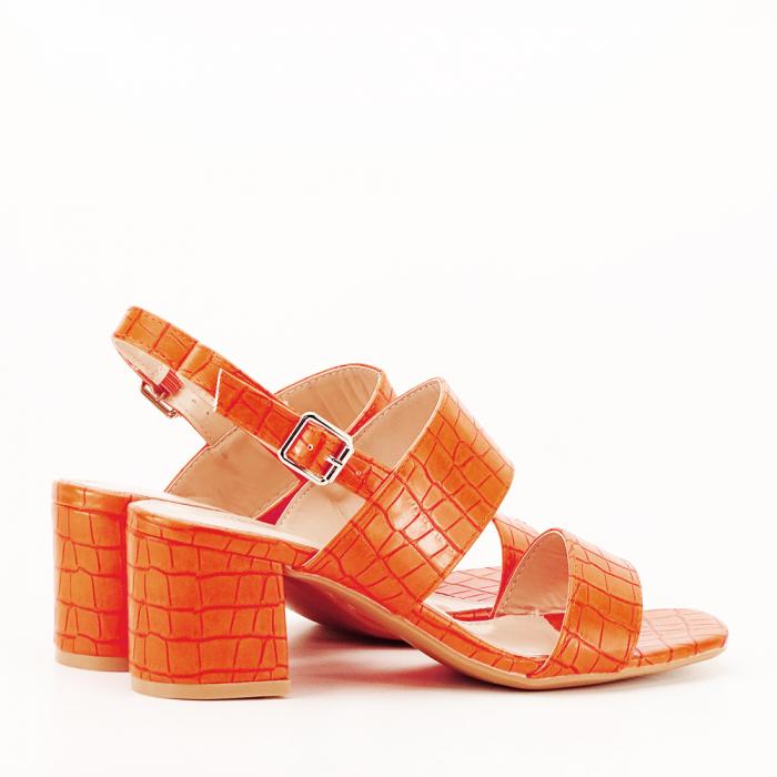 Sandale portocalii cu toc mic Edith 4