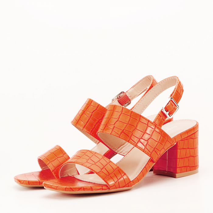 Sandale portocalii cu toc mic Edith 1