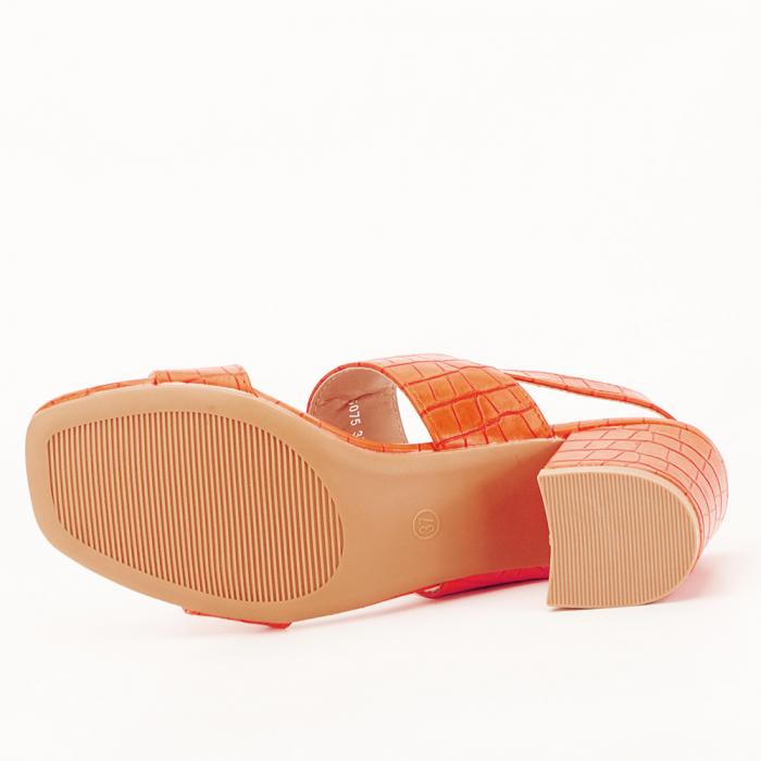 Sandale portocalii cu toc mic Edith 3