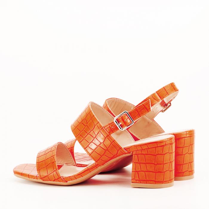 Sandale portocalii cu toc mic Edith 6