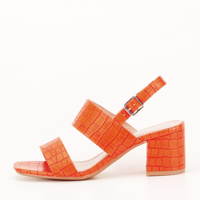 Sandale portocalii cu toc mic Edith 0