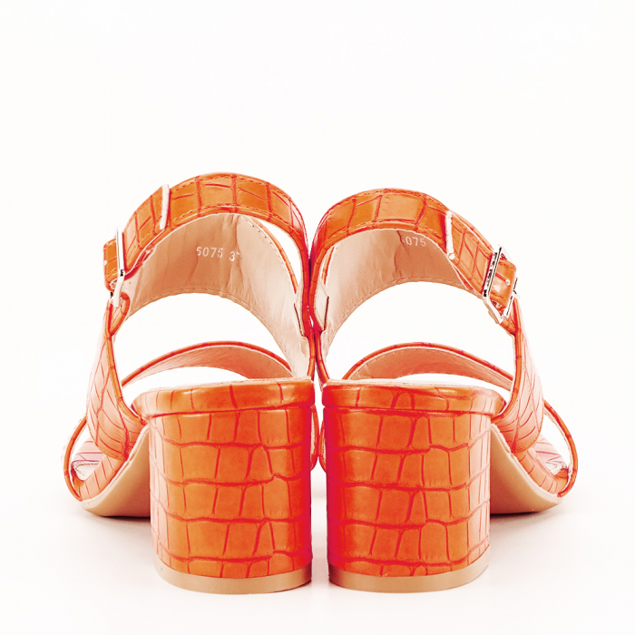 Sandale portocalii cu toc mic Edith 5