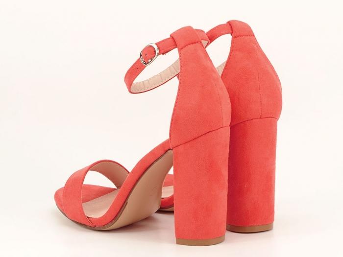 Sandale portocalii dama cu toc inalt Mathilde 2 1